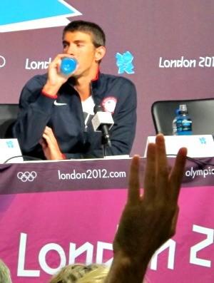 Michael Phelps coletiva Londres (Foto: Rodrigo Alves/GLOBOESPORTE.COM)