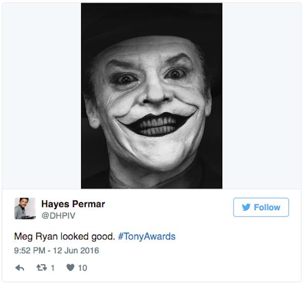 """A Meg Ryan parece o Coringa"", afirma um fã no Twitter (Foto: Twitter)"