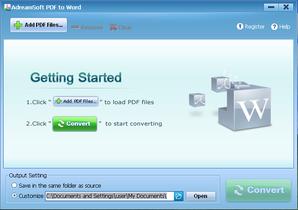 Adreamsoft PDF to Word Converter em processo
