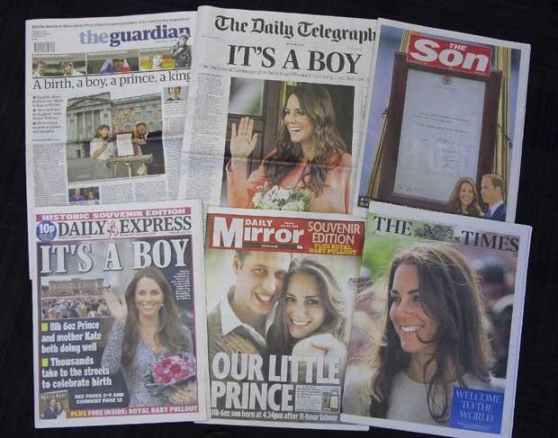 Jornais britânicos destacam o nascimento do filho de Kate e Willian nas capas e com matérias especiais nesta terça-feira (23) (Foto: Tony Hicks/ AP)