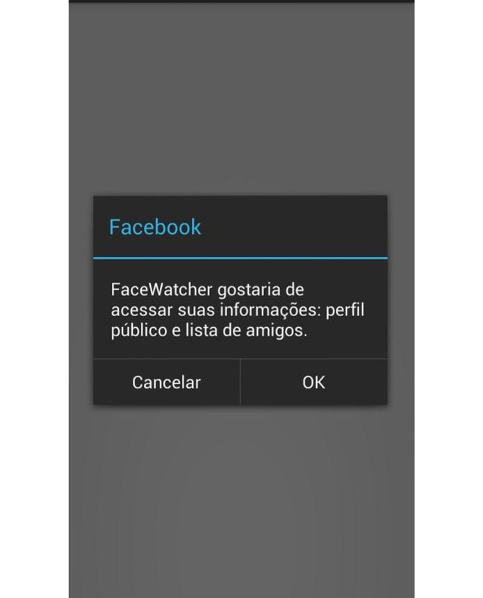 Autorize o acesso do app a seus dados na rede social (Reprodução/ Taysa Coelho) (Foto: Autorize o acesso do app a seus dados na rede social (Reprodução/ Taysa Coelho))