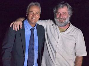 Kadu e Leopoldo durante os bastidores das últimas cenas de Pedro (Foto: Fabiano Battaglin/ Gshow)