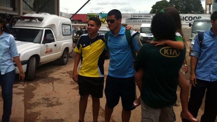 Palmeiras desembarca em Cuiabá (Foto: Bárbara Taques)