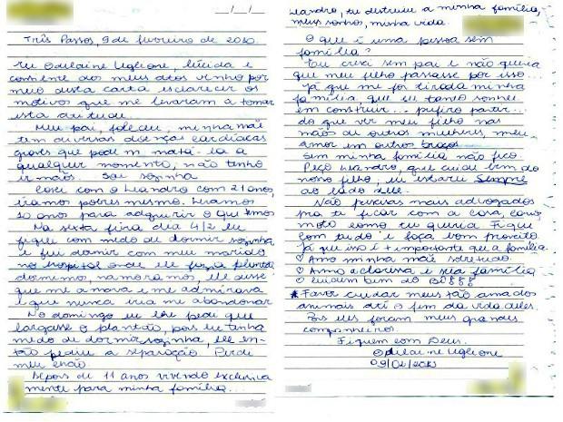 Odilaine Uglione teria escrito uma carta de despedida (Foto: Reprodução)