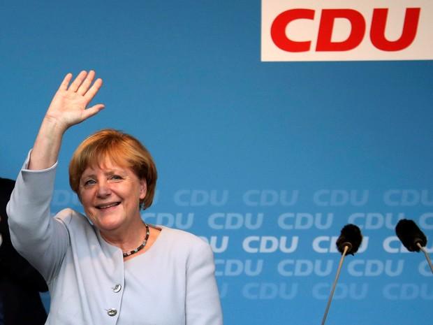 União Democrata Cristã (CDU) da chanceler alemã somou 18% dos votos, cinco pontos a menos em relação às eleições de 2011 (Foto: Fabrizio Bensch/Reuters)
