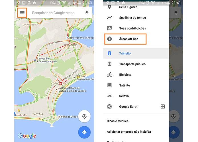 Acesse o menu do Google Maps no Android e selecione as áreas offline (Foto: Reprodução/Barbara Mannara)