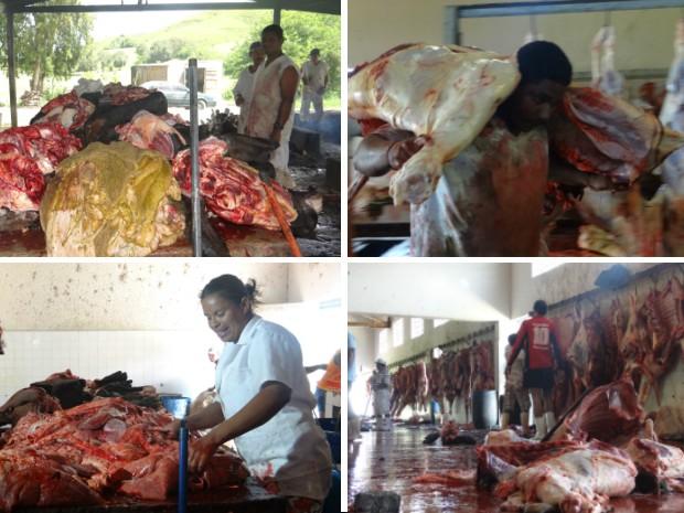 Fiscais flagraram trabalho insalubre e higiene precária nos matadouros de Cajueiro e Maribond (Foto: Natália Souza/G1 AL)