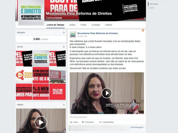 Vídeo explicando a ação foi publicado na fanpage 'Movimento Pela Reforma de Direitos' (Foto: Reprodução / Facebook)