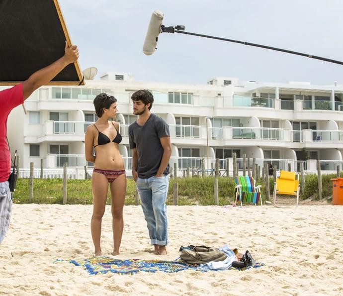 A dupla grava cenas de Jonatas e Leila, de Totalmente Demais (Foto: Fabiano Battaglin/Gshow)