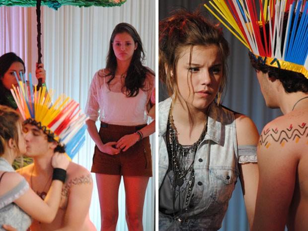 Será que a amizade de Ju e Lia resiste a Dinho? (Foto: Malhação / Tv Globo)