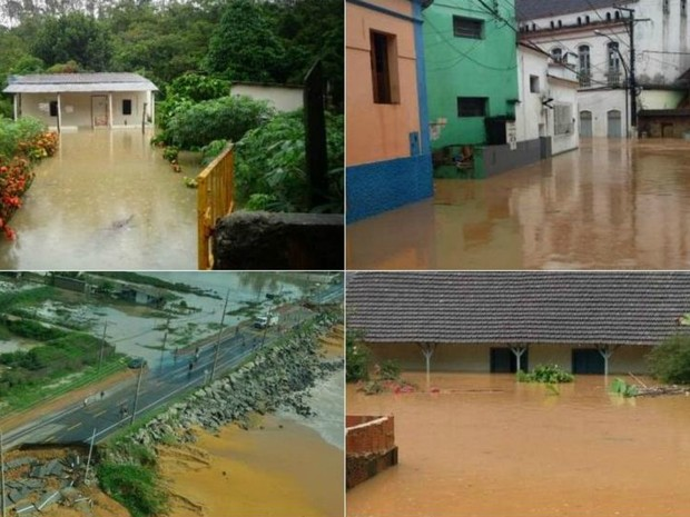 Sobe para 24.827 o número pessoas fora de casa no Espírito Santo, diz Defesa Civil (Foto: VC no G1 e VC no ESTV)
