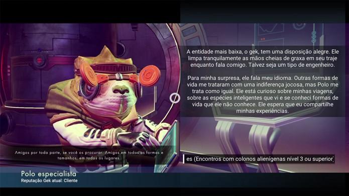 Interaja com o alienígena da raça Gek de No Mans Sky e ele irá fornecer a planta do Atlas Pass (Foto: Reprodução/Rafael Monteiro)