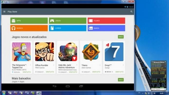 Andy simula o ambiente Android e permite baixar apps para o PC (Foto: Reprodução/Dario Coutinho)