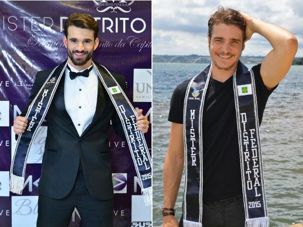 Lucas Ramalho (esquerda) renunciou ao posto de Mister DF 2015; faixa passou a Ecktor Lopes (direita) (Foto: Mister DF/Divulgação)