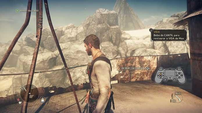 Beber água é fundamental no mundo de Mad Max (Foto: Reprodução/Felipe Vinha)