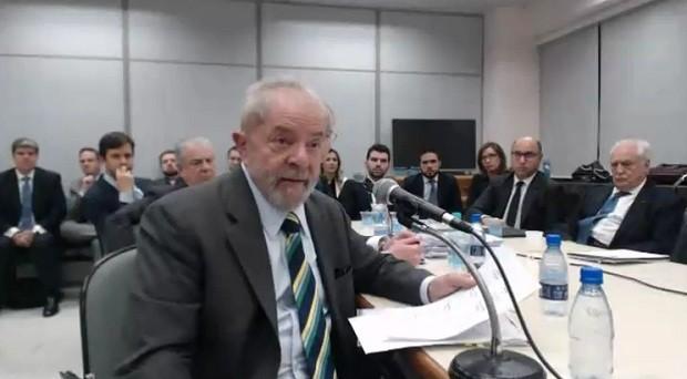 O ex-presidente Lula em depoimento ao juiz Sérgio Moro (Foto: Justiça Federal do Paraná)