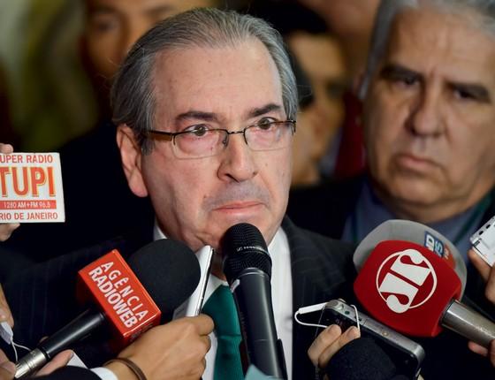 Eduardo Cunha durante coletiva para anunciar sua renúncia (Foto: RICARDO BOTELHO/BRAZIL PHOTO PRESS)
