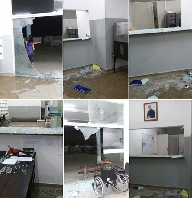Vidraças do hospital foram atingidas e ficaram estilhaçadas; ninguém ficou ferido. (Foto: Reprodução/Inter TV Cabugi)