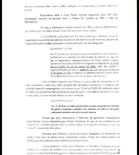 Segunda parte do documento de denúncia dos jogadores do VEC à Justiça (Foto: Reprodução)