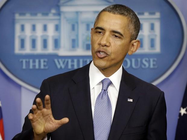 """O presidente dos EUA, Barack Obama, fez um apelo nesta segunda-feira (30) para que o Congresso impeça a """"paralisação"""" do governo americano. Segundo ele, o Congresso está agindo """"no limite da irresponsabilidade"""". (Foto: Pablo Martinez Monsivais/AP)"""
