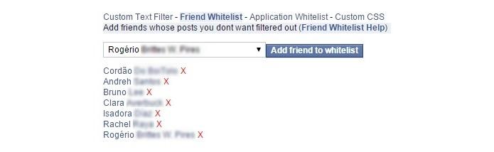 Friend Whitelist reúne amigos que não serão filtrados (Foto: Reprodução/Raquel Freire)