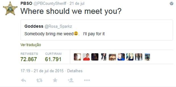 Jovem pede por maconha no Twitter, e polícia da Flórida (EUA) responde: 'onde nós te encontramos?'. (Foto: Reprodução/Twitter)