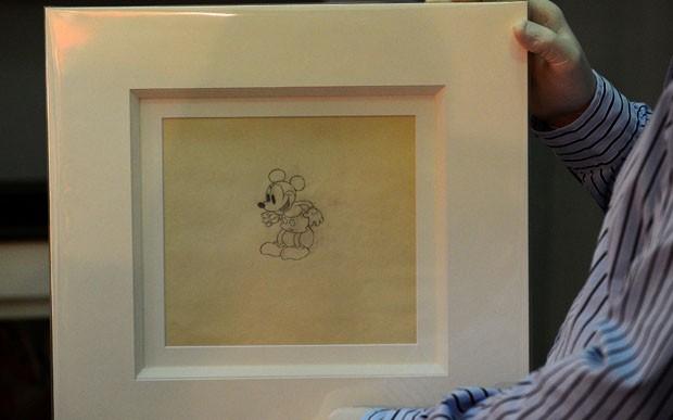 Desenho de Mickey Mouse feito em 1933. (Foto: Andrew Yates/AFP)