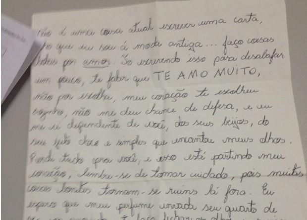 Suspeita escreveu carta de amor para Bianca em Jataí, Goiás (Foto: Saulo Prado/ Arquivo Pessoal)