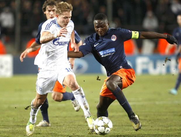 Mapou e Holtby, Montpellier x Schalke 04 (Foto: Agência Reuters)