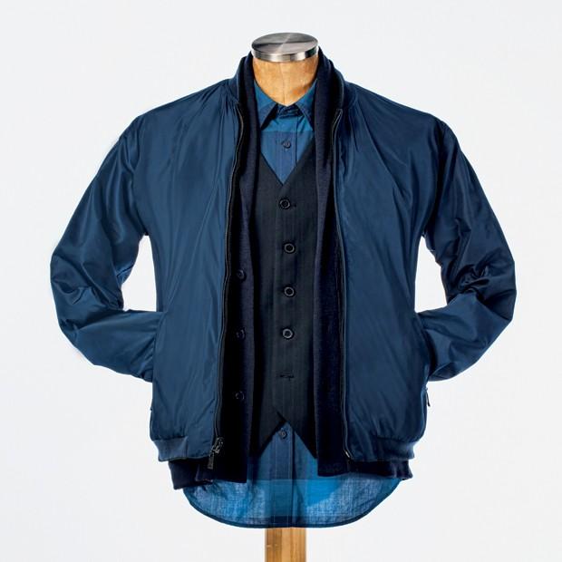 Sobreposições: Jaqueta VR  R$ 799 | Cardigã R$ 459 e colete  R$ 179 Aramis | Camisa Lacoste R$ 479  (Foto: Victor Almeida)