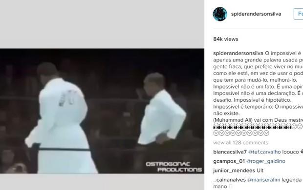 "BLOG: Anderson Silva cita frase de Muhammad Ali e se despede: ""Vai com Deus, mestre"""