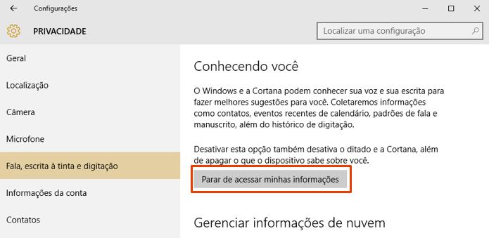 Desligue a gravação de dados de escrita e fala feitos pela Cortana (Foto: Reprodução/Paulo Alves)