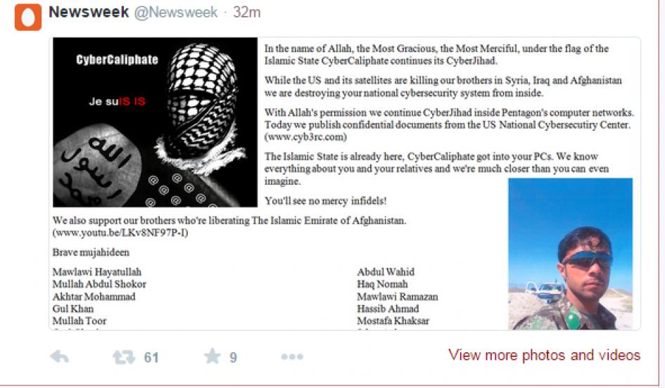 Mensagem do CyberCaliphate no Twitter da Newsweek (Foto: Reprodução)