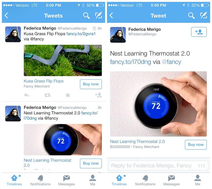 Buy Now estaria sendo testado pelo Twitter (Foto: Reprodução/Mashable)