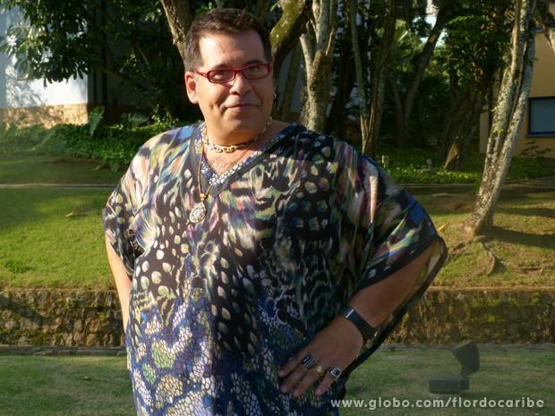 Em Flor do Caribe, Hassum será o afetado estilista Jeff Glam (Foto: Flor do Caribe/TV Globo)