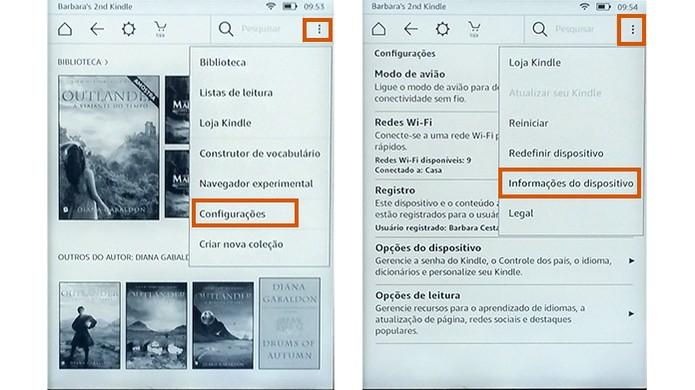 Acesse as configurações para descobrir informações sobre o Kindle (Foto: Reprodução/Barbara Mannara)