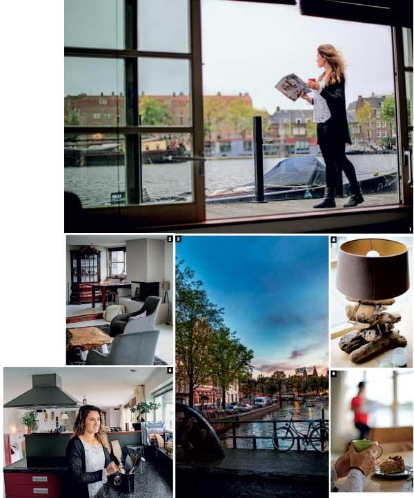 1. Mia, moradora  da casa- barco  2. Sala do flutuante  3. Canal de Kloveniersburgwal  4. Detalhe de décor  5. Café na beira do rio 6. Cozinha aberta, típica da arquitetura holandesa (Foto: Rogério Voltan)