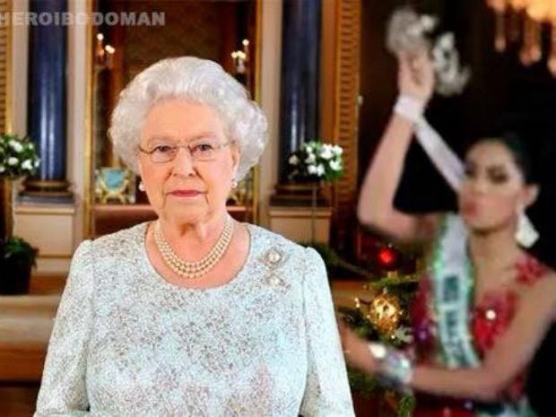 Rainha Elizabeth não escapou e foi 'vítima' da vice campeã (Foto: Reprodução/Internet)