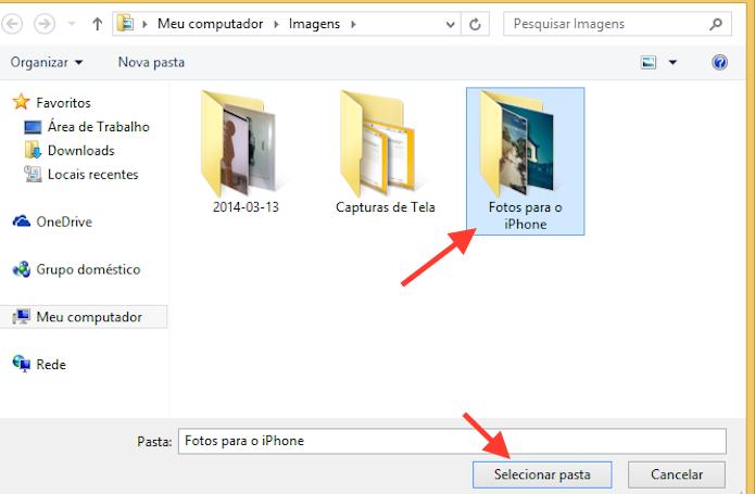 Definindo um pasta de fotos específica do computador para que apenas ela seja sincronizada com o iPhone através do iTunes (Foto: Reprodução/Marvin Costa)