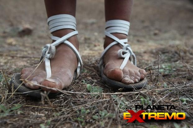Sadália minimalista usada pela tribo Tarahumara (Foto: Planeta Extremo)