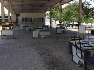 Com a paralisação a área dos exames ficou vazia (Foto: Sindetran/Ce)