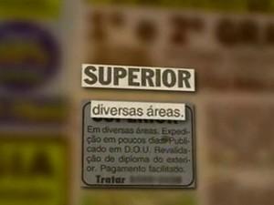 Quadrilhas ofereciam a documentação através de anúncios em jornais (Foto: Reprodução/RBS TV)