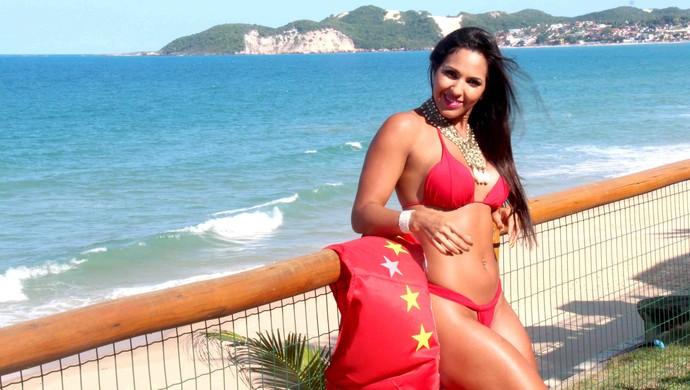Alane Pereira, musa do América-RN (Foto: Evaldo Gomes)
