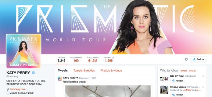 Kate Perry é a mais seguida do Twitter; microblog revela lista do top 10 de 2014 (Foto: Reprodução/Twitter)
