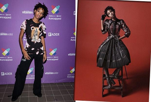 Além de fazer sucesso com a sua voz, Willow Smith está ganhando espaço na moda: ela posou para a campanha da Marc Jacobs (à direita) (Foto: Getty Images/Divulgação)