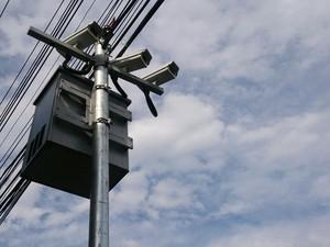 Radar de fiscalização instalado no Centro de Santos (Foto: Orion Pires / G1)