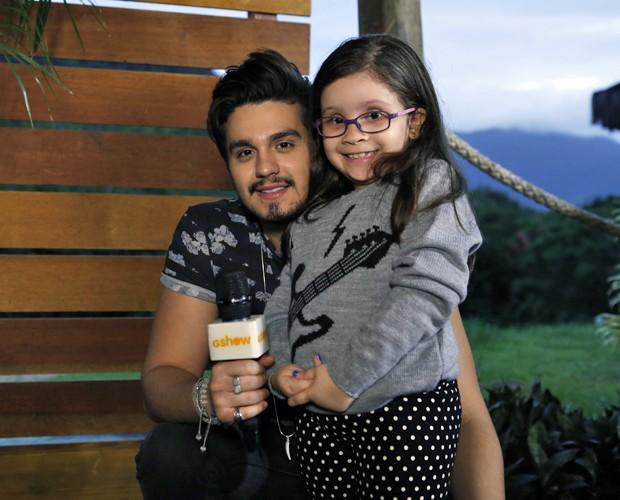 Luan Santana e Sophia nos bastidores do Estrelas (Foto: Ellen Soares/Gshow)