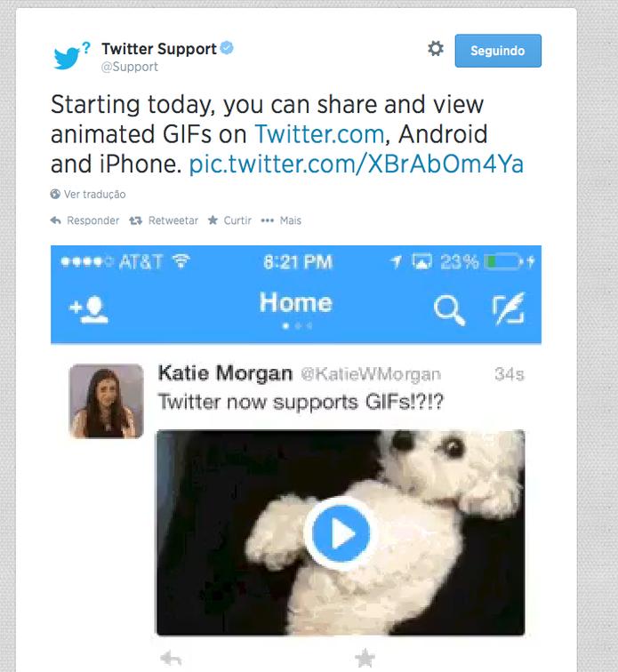 Gif do Twitter mostra novo recurso, que será implementado em celulares e versão web nos tuítes (Foto: Divulgação/Twitter)