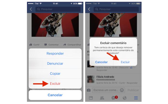 Excluindo um comentário no Facebook pelo iPhone (Foto: Reprodução/Marvin Costa) (Foto: Excluindo um comentário no Facebook pelo iPhone (Foto: Reprodução/Marvin Costa))
