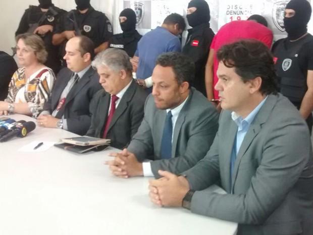 Polícia concedeu entrevista coletiva nesta terça-feira (Foto: Katiana Ramos/Jornal da Paraíba)